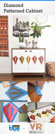 How to restore a thrift store cabinet by painting a diamond pattern on it