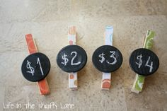 Chalkboard Sign closepins: for craft shows. (then she re-used them in her pantry when done...very versatile)