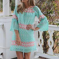 Diamond Bell Sleeve Dress, Mint