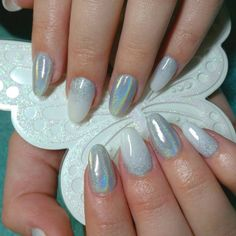 white long nail with glitter