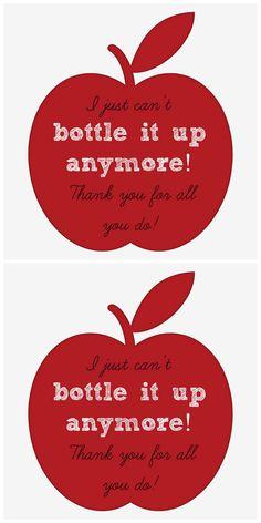 Teacher Appreciation Gift Idea - Teacher Water Bottle Printable Gift Tag - It's A Fabulous Life
