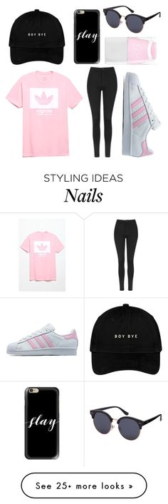"""""""I'm really tired"""" by karanotcara on Polyvore featuring Casetify, adidas, adidas Originals, Topshop and Nails Inc."""