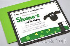 Shaun the Sheep Handmade Birthday Party Invitation for Boys NEW