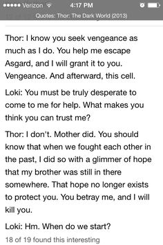 Quotes from Thor The Dark World. Found on IMDb.