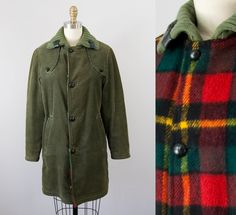 1960s Vintage Corduroy Plaid Wool Reversible Coat. Knit Collar. Leather Buttons. 60s Jacket (XS) by heirravintage on Etsy
