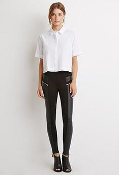 Faux Leather-Paneled Leggings | Forever 21 - 2000056482