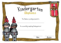 FREE! Medieval themed Diplomas for children in Kindergarten with knights, knight armors and knight banners!