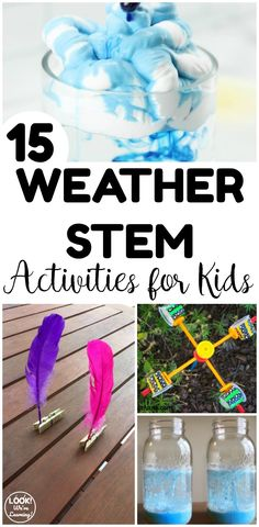 These fun weather STEM activities for kids are excellent for simple spring science experiments! Simple enough for home or the classroom! These fun weather STEM activities for kids are perfect for spring science experiments at home or in the classroom! At Home Science Experiments, Science Projects For Kids, Science For Kids, Science Fun, Science Lessons, Summer Science, Earth Science, At Home Projects, Weather Experiments