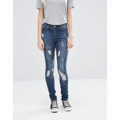 Cheap Monday Second Skin Skinny Jeans 32 ($63) ❤ liked on Polyvore featuring jeans, blue, high waisted jeans, high-waisted skinny jeans, skinny fit jeans, ripped jeans and blue jeans