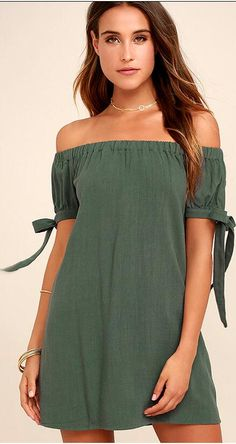 The perfect dinner date starts with the Al Fresco Evenings Olive Green Off-the-Shoulder Dress! An elastic, off-the-shoulder neckline tops a shift bodice with tying, short sleeves. Cute Dresses, Casual Dresses, Floral Dresses, Bow Shorts, Olive Green Dresses, Off The Shoulder, Shoulder Dress, Shoulder Tops, Vacation Dresses