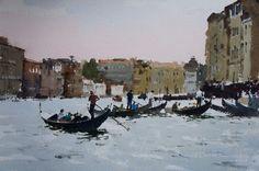 John Yardley (b. 1933, UK) Gondola Flottilla, Grand Canal: Venice. 2014 watercolour. 13.5 x 19.5 in.