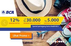 Special #Promo increasingly pleased with #BCA #creditcard holders! Enjoy 12% #Hotel #Discounts, Discount Airfare Discounts up to Rp 30,000 and Rp 5,000 #Railway #Ticket. Mau #Traveling does not need to think again because all the so getting cheaper! Only at #Pegipegi #Vouchers #Promos