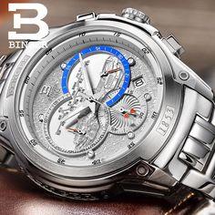 63.75$  Buy now - http://alizgj.worldwells.pw/go.php?t=32547200601 - Switzerland watches men luxury brand Wristwatches BINGER Quartz watch full stainless steel Chronograph Diver glowwatch B6013