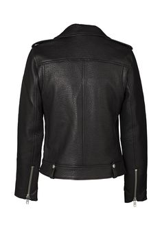Our Minimalist Biker Jacket is a timeless investment you'll treasure forever. Cut for a closer fit, this piece is crafted from pebbled lamb leather and has an asymmetric zip fastening and silver hardware. Wear it over everything from party dresses to sweaters. + Size and Fit Information Model is size 8 and wearing an Aus size 8/Small Cut for a closer fit 100% leather (cow); lining: Satin (100% polyester) Leather is a natural product and will stretch over time zipped pockets and cuffs...