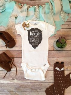 Beard Onesie®  Funny baby boy Onesie® bodysuit (or toddler shirt) with Ill Wear This Until My Beard Grows printed on the chest in a handwritten…
