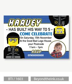 Personalised Good Cop Bad Cop Lego Movie Photo Invitations.  Printed on Professional 300 GSM smooth card with free envelopes & delivery as standard. www.beyondtheink.co.uk
