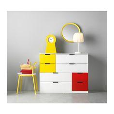 NORDLI Lipasto, 8 laatikkoa - valkoinen punainen/keltainen - IKEA