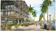 Ground level perspective of a boardwalk and shopping area alongside a marina, in our watercolor style.