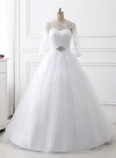 DressilyMe Bridal Dresses Online,Wedding Dresses Ball Gown, in stock attractive tulle jewel neckline a line wedding dress with lace appliques belt Day Wedding Outfit, Affordable Wedding Dresses, Wedding Dresses For Sale, Wedding Dress Shopping, Bridal Dresses, Wedding Gowns, Weeding Dresses, Revealing Dresses, White Ball Gowns