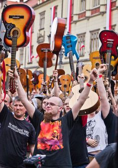 Wroclaw, I think this was an attempt to have the largest gathering of guitars playing all you need is love. My parents were in town for this.