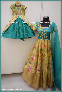 #Mother and daughter matching dress designs by Angalakruthi boutique Bangalore mother daughter dresses boutique india