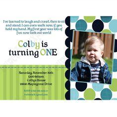 Train Printable Birthday Photo Invitation  #2  DIY blue navy teal lime green