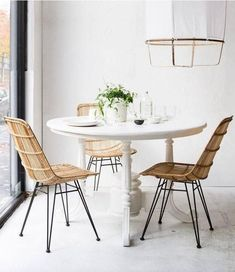 33 Awesome Rattan Chair For Dining Room Design And Decor Ideas - Using rattan dining chairs can help create a casual, exotic, or elegant atmosphere in your dining room. With the numerous chair designs available, it . Mismatched Dining Chairs, Rattan Dining Chairs, Outdoor Dining Chair Cushions, Living Room Chairs, Outdoor Lounge, Lounge Chairs, Esstisch Design, Compact Table And Chairs, Dining Table Design