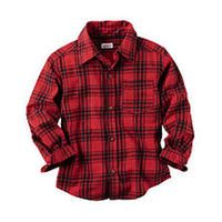 Carter's Boys Red/Black Plaid Botton Down Shirt - Toddler