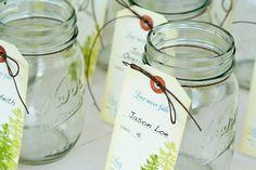 escort card ideas mason jars (by mavora art)