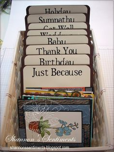 greeting card organizer – this type of organization needs to be used in all areas of my house. greeting card organizer – this type of organization needs to be used in all areas of my house. Craft Organization, Craft Storage, Paper Storage, Storage Ideas, Organizing Ideas, Organizing Life, Karten Display, Rooms Ideas, Diy Vintage