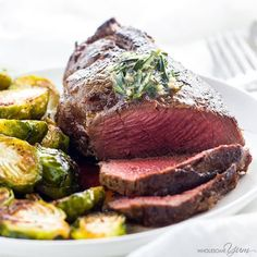 """Filet Mignon with Garlic Herb Butter - (S) """"Learn how to cook the best filet mignon – pan seared in a cast iron skillet and finished in the oven. It's unbelievably easy and takes just 15 minutes!"""" - Maya www.TrimHealthyMama.com"""
