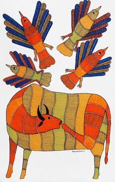 An online art gallery offering the best range of indian art online. Madhubani Art, Madhubani Painting, Worli Painting, Indian Arts And Crafts, Indian Paintings, Art Paintings, Indian Folk Art, Virtual Art, Cow Art