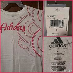 """NWT Adidas LARGE Pink & Purple Tshirt Brand: Adidas Size: Large Colors: White with dark pink & purple Material: 100% Cotton Condition: NWT.  One small crayon X on the inside that will come out in the wash.  20"""" Armpit to armpit.  27"""" From shoulder to hem. Adidas Tops Tees - Short Sleeve"""