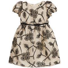 I Pinco Pallino Ivory & Black Floral Embroidered Silk Dress at Childrensalon.com