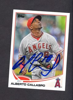 ALBERTO CALLASPO OAKLAND ATHLETICS A'S LOS ANGELES ANGELS AUTOGRAPHED SIGNED 2013 TOPPS #494 BASEBALL CARD