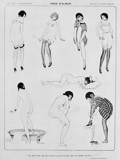 """Illustrations by Gerda Wegener for La Vie Parisienne; June 1913.    The text, """"La plus belle fille du monde ne peut montrer que les jambes quell a"""", roughly translates as """"The most beautiful girl in the world can show that she has legs.""""    Gerda Wegener, born 1889, was Danish and studied art in Copenhagen, before moving to Paris when she was 23 and becoming one of the first female pin-up artists."""