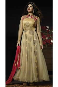 Add grace and charm towards the look in this beige net anarkali salwar suit. The wonderful embroidered, resham and zari work in the course of the attire is awe inspiring. Comes with matching bottom an. Vestido Anarkali, Long Anarkali, Anarkali Suits, Indian Wedding Outfits, Indian Outfits, Indian Dresses, Moda Indiana, Designer Anarkali Dresses, Designer Dresses