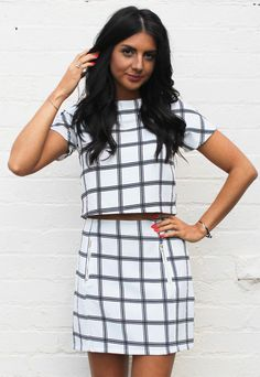 Grid Print Boxy Crop Top & Pelmet Skirt Co-ord Set in White with Black
