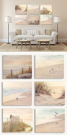Look at this rustic coastal wall art set! Perfect for over the couch. These colo… Look at this rustic coastal wall art set! Perfect for over the couch. These colors are so soothing! Decor, Beach Wall Decor, Beach House Interior, Coastal Living Rooms, Beach Cottage Decor, Coastal Bedrooms, Living Decor, Cottage Decor, Home Decor