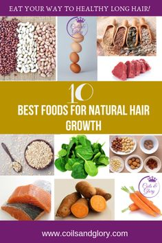 10 Best Foods for Natural Hair Growth Aside from the amount and quality of hair products that you use in your natural hair, another important factor to growing long natural hair fast is your food intake. That's why I want to share 10 best foods for natu 4c Hair Growth, Natural Hair Growth Tips, Best Natural Hair Products, How To Grow Natural Hair, Hair Remedies For Growth, Long Natural Hair, Grow Long Hair, Healthy Hair Growth, Natural Hair Styles
