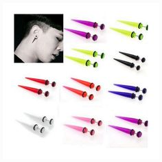 New Acrylic Ear Plugs Taper Gauges Expander Stretcher Stretching Piercing Fake Gauge Earrings, Cartilage Earrings, Ear Plugs, Fake Piercing, Ear Piercings, Lip Peircings, Creepy Cute Fashion, Faux Gauges, Ear Tapers