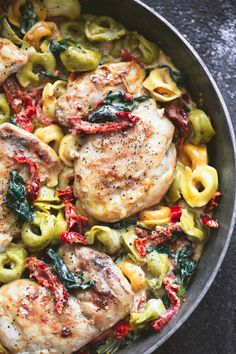 Creamy one pan tuscan garlic chicken tortellini has incredible flavor and comes together in just 30 minutes!