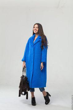 Oversized coat   Купить Синее пальто оверсайз из кашемира и альпаки. - синий, пальто женское, оверсайз пальто