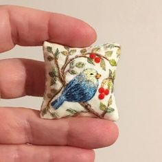 Miniature pillow Blue bird Hand embroidered Flowers on the cushion are decorated with rhinestones Hand made Bird Embroidery, Embroidery Stitches, Embroidery Designs, Embroidered Cushions, Embroidered Flowers, Dollhouse Accessories, Miniature Crafts, Blue Pillows, Minis