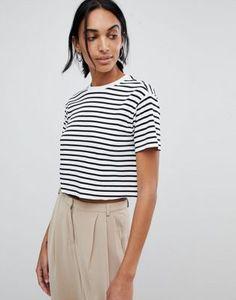 6c269146 Купить Укороченная футболка в рубчик с полосками ASOS DESIGN на ASOS.  Открой мир моды онлайн
