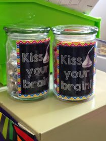 "Classy In The Classroom: When students answer a question correctly, they get to ""kiss their brain""."