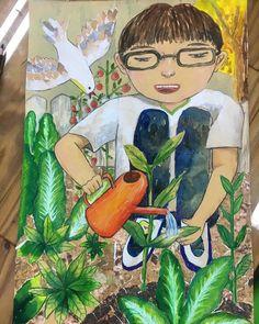 자동 대체 텍스트를 사용할 수 없습니다. Art Drawings For Kids, Drawing For Kids, Painting For Kids, Art Lessons For Kids, Art For Kids, 7th Grade Art, Art Competitions, Korean Art, Easy Paintings