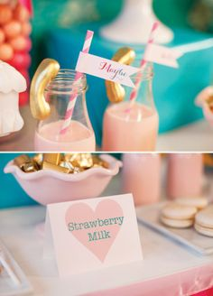 """Sweet """"Call Me Maybe"""" Kids Valentines Party with strawberry milk + a gold phone garnish!"""