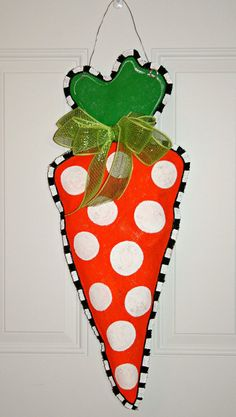 Hand Painted Easter Carrot Burlap Door Hanger by MustLoveArtStudio, $35.00