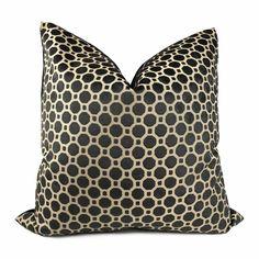 Robert Allen Black Beige Cut Velvet Geo Geometric Pillow Cover
